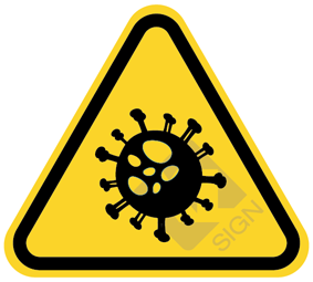 Coronavirus driehoek sticker