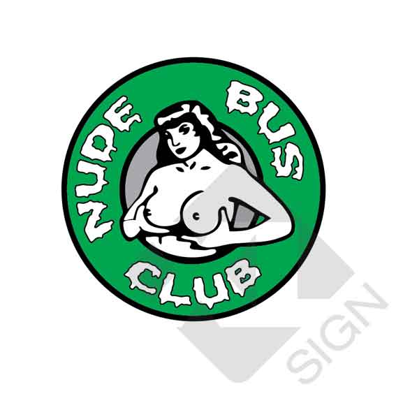 nude bus club 13cm green sticker